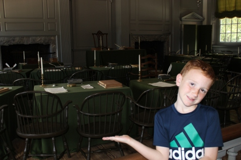 George Washington's chair in the background