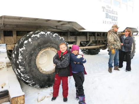 The tires of the tundra buggy were bigger than we were.